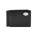 Pebble Grain Black Leather Razor Money Clip/Wallet