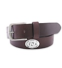 Leather Belt with Concho Logos (Brown)