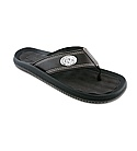 Men's Leather Flip Flop with Concho Logo (Brown/Black)