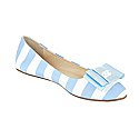 Striped Ballet Flat with NC Logo Bow