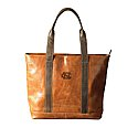 Tan Leather Tote Bag with Debossed NC
