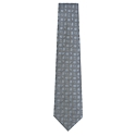Multi Logo Woven Silk Tie (Charcoal Grey)