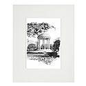 Small Matted Black and White Old Well Print