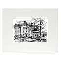 Small Matted Black&White South Building and Old Well Print