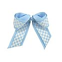 Gingham Cheer Bow with Elastic Ponytail (CB/White)