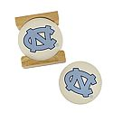 Set of 4 Ceramic Coasters in Wood Stand