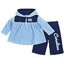 Infant Girls Snowflake Polar Fleece Hood & Pant Set (CB/Navy)