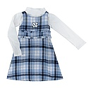 Toddler Reign Flannel Dress w/ Mock Neck Turtleneck (CB Plaid/White)