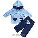 Infant Plush Hearts Full-Zip Hood and Pants Set (Navy/CB)