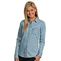 Ladies' L/S Chambray Woven Shirt (Light Blue Denim)