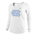 Nike Ladies' L/S Distressed Logo T (White)