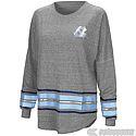 Juniors' Long Sleeve Foil Stripe Oversized T (Grey)